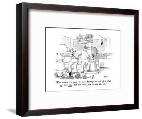 """""""The reason it's going to keep flashing on and off is that we love you, an?"""" - New Yorker Cartoon-Jack Ziegler-Framed Art Print"""