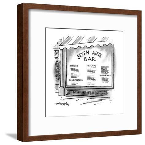 Window of the 'Seven Arts Bar' that lists patrons, benefactors, friends, a? - New Yorker Cartoon-Henry Martin-Framed Art Print