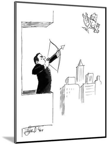 A businessman on a balcony takes aim at Cupid with a bow and arrow. - New Yorker Cartoon-Edward Frascino-Mounted Premium Giclee Print