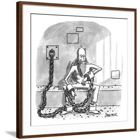 Man in shackels looks at watch implanted in bondage. - New Yorker Cartoon-Jack Ziegler-Framed Art Print