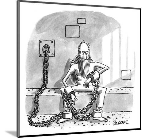 Man in shackels looks at watch implanted in bondage. - New Yorker Cartoon-Jack Ziegler-Mounted Premium Giclee Print