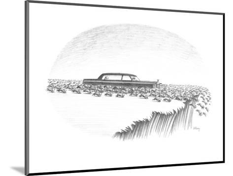 Herd of lemmings are running off cliff, one is being chauffeured in a limo? - New Yorker Cartoon-Anthony Taber-Mounted Premium Giclee Print