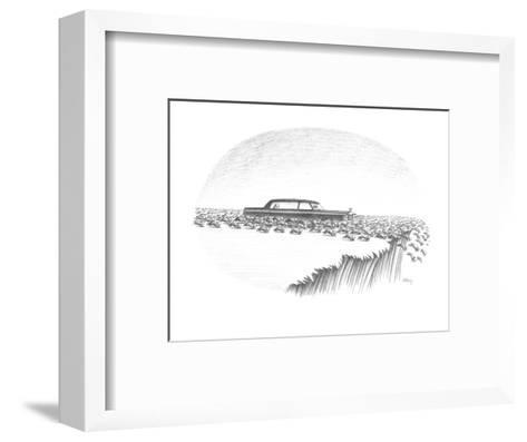 Herd of lemmings are running off cliff, one is being chauffeured in a limo? - New Yorker Cartoon-Anthony Taber-Framed Art Print