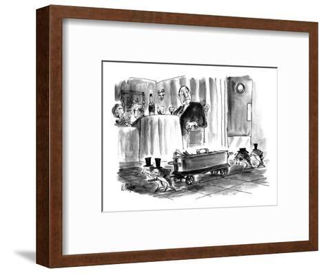 "A procession of weeping fish escorting a tin ""casket"" in a restaurant whil… - New Yorker Cartoon-Warren Miller-Framed Art Print"