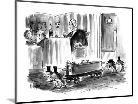 """A procession of weeping fish escorting a tin """"casket"""" in a restaurant whil… - New Yorker Cartoon-Warren Miller-Mounted Premium Giclee Print"""