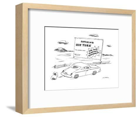 """""""Car passes road sign reading """"Entering New York?Now With Capital Punishme?-Michael Maslin-Framed Art Print"""
