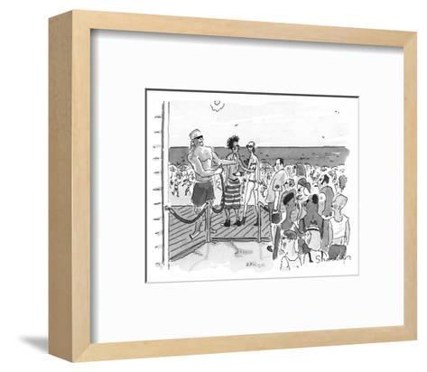 People are let onto beach by bouncer like a club. - New Yorker Cartoon-Danny Shanahan-Framed Art Print
