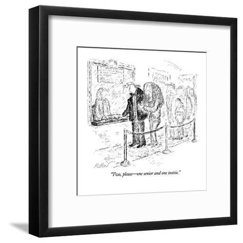 """Two, please?one senior and one tootsie."" - New Yorker Cartoon-Edward Koren-Framed Art Print"