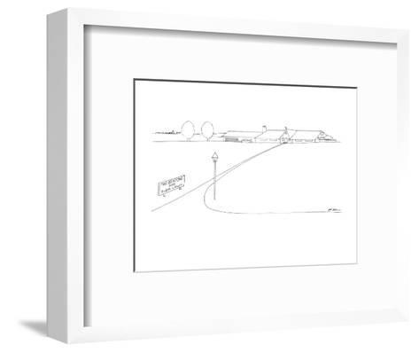 On the side of a lawn there is a sign that reads 'The Bentons and Their La? - New Yorker Cartoon-Ed Arno-Framed Art Print