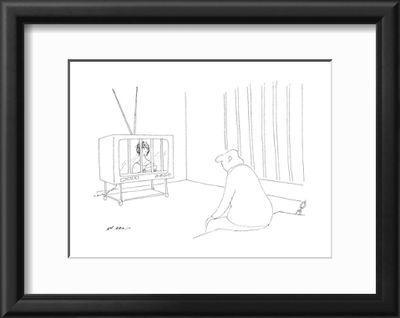 Man in jail watching television with bars over it. - New Yorker ...