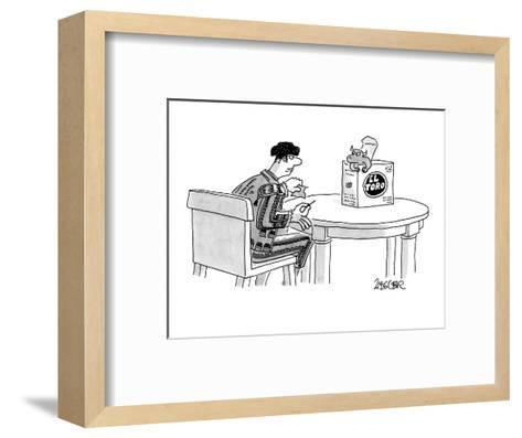A bullfighter, holding a tiny cape and sword, waits for a miniature bull t? - New Yorker Cartoon-Jack Ziegler-Framed Art Print