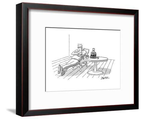 """Man looking angry drinking """"Snit In A Bottle"""". - New Yorker Cartoon-Jack Ziegler-Framed Art Print"""
