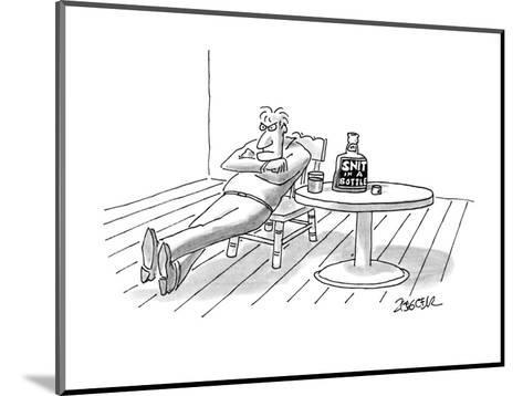 """Man looking angry drinking """"Snit In A Bottle"""". - New Yorker Cartoon-Jack Ziegler-Mounted Premium Giclee Print"""