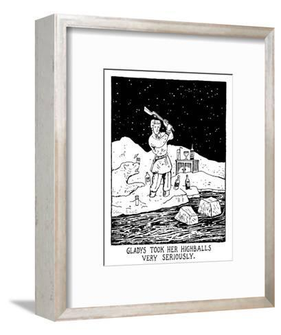 Gladys Took Her Highballs Very Seriously. - New Yorker Cartoon-Glen Baxter-Framed Art Print