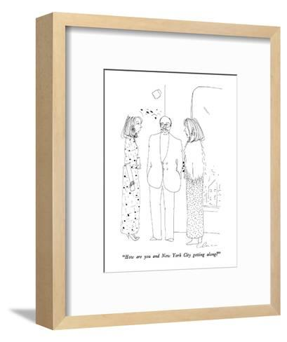 """""""How are you and New York City getting along?"""" - New Yorker Cartoon-Richard Cline-Framed Art Print"""