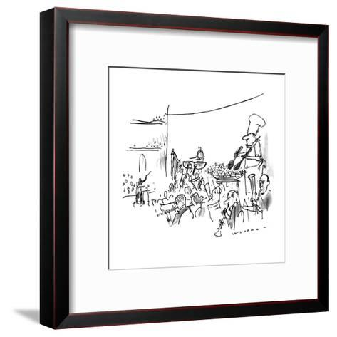 In the middle of an orchestra stands a chef tossing salad in a bowl. - New Yorker Cartoon-Bill Woodman-Framed Art Print