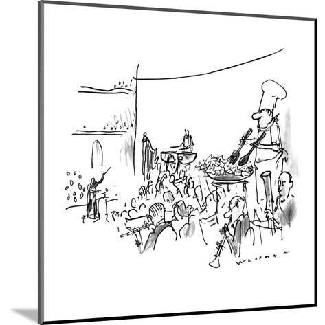 In the middle of an orchestra stands a chef tossing salad in a bowl. - New Yorker Cartoon-Bill Woodman-Mounted Premium Giclee Print