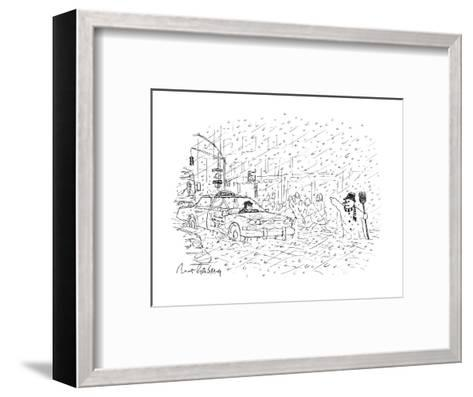 Snowman hailing cab - New Yorker Cartoon-Mort Gerberg-Framed Art Print