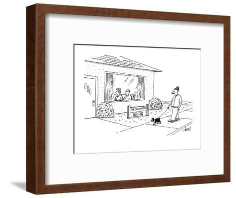 "Man walking by house sees sign ""The Collingtons-rated PG"". - New Yorker Cartoon-Tom Cheney-Framed Art Print"