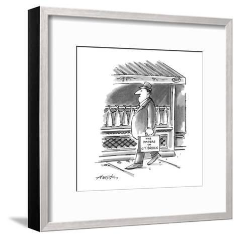 """Picture of man walking down the street; his briefcase reads,""""The Papers of?"""" - New Yorker Cartoon-Henry Martin-Framed Art Print"""