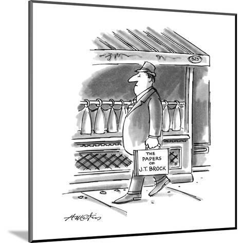 """Picture of man walking down the street; his briefcase reads,""""The Papers of?"""" - New Yorker Cartoon-Henry Martin-Mounted Premium Giclee Print"""