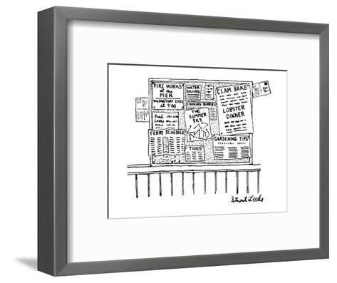 Bulletin board with various leaflets pinned up on it; they say 'The Summer? - New Yorker Cartoon-Stuart Leeds-Framed Art Print