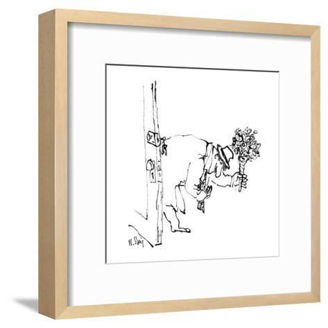Man enters house with flowers. - New Yorker Cartoon-William Steig-Framed Art Print