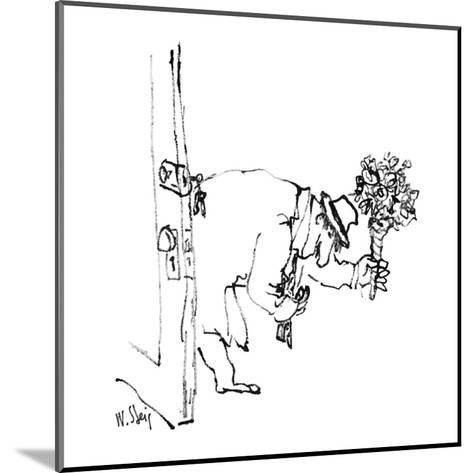 Man enters house with flowers. - New Yorker Cartoon-William Steig-Mounted Premium Giclee Print