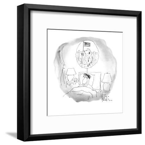 Bleary-eyed man lays in bed;the sheep he has been counting are staging a t? - New Yorker Cartoon-Arnie Levin-Framed Art Print