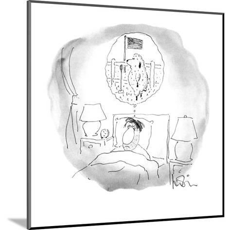 Bleary-eyed man lays in bed;the sheep he has been counting are staging a t? - New Yorker Cartoon-Arnie Levin-Mounted Premium Giclee Print