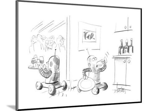 Two robots serving drinks at a party;one is taking a secretive drink in th? - New Yorker Cartoon-Donald Reilly-Mounted Premium Giclee Print