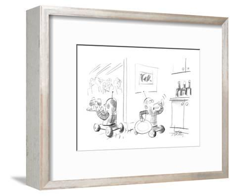 Two robots serving drinks at a party;one is taking a secretive drink in th? - New Yorker Cartoon-Donald Reilly-Framed Art Print