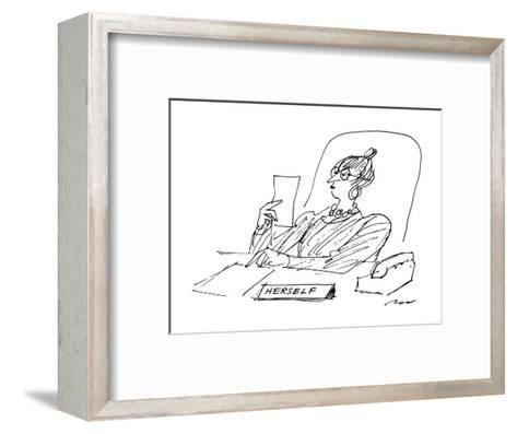 A woman executive sits at her desk reading a letter; on her desk is a sign? - New Yorker Cartoon-Al Ross-Framed Art Print