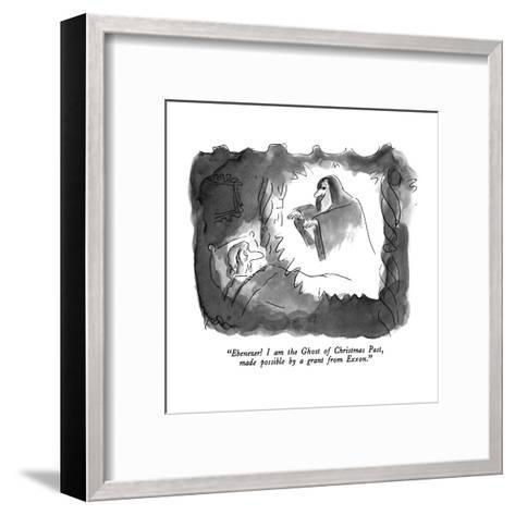 """""""Ebenezer!  I am the Ghost of Christmas Past, made possible by a grant fro?"""" - New Yorker Cartoon-Arnie Levin-Framed Art Print"""