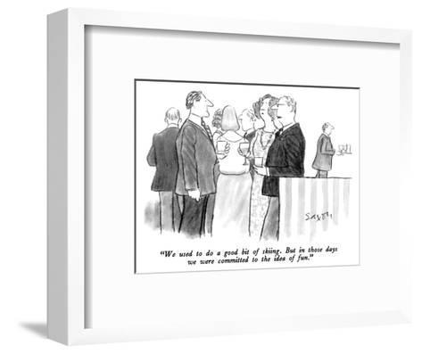 """We used to do a good bit of skiing.  But in those days we were committed ?"" - New Yorker Cartoon-Charles Saxon-Framed Art Print"