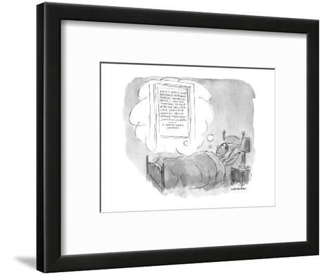 Man lies in bed dreaming of an ad agency with the names of ten or 11 of th? - New Yorker Cartoon-James Stevenson-Framed Art Print