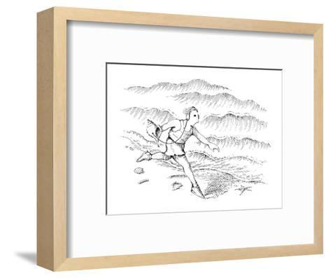 Man running along the beach listening to a sea shell with earphones. - New Yorker Cartoon-John O'brien-Framed Art Print