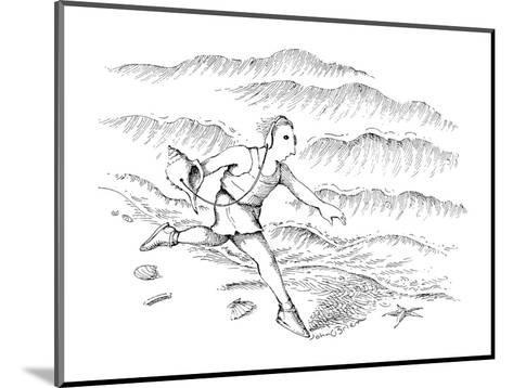 Man running along the beach listening to a sea shell with earphones. - New Yorker Cartoon-John O'brien-Mounted Premium Giclee Print