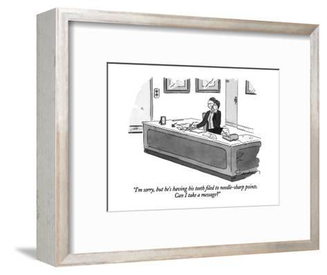 """""""I'm sorry, but he's having his teeth filed to needle-sharp points.  Can I?"""" - New Yorker Cartoon-Danny Shanahan-Framed Art Print"""