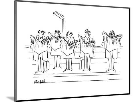 """Men looking angrily at man laughing at """"New  York Times"""". - New Yorker Cartoon-Frank Modell-Mounted Premium Giclee Print"""