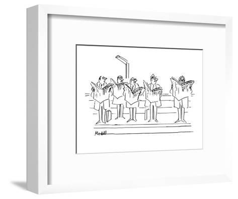 """Men looking angrily at man laughing at """"New  York Times"""". - New Yorker Cartoon-Frank Modell-Framed Art Print"""
