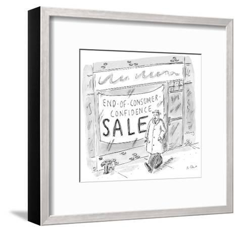 Man walks by storefront with large sign that reads, 'End-Of-Consumer-Confi? - New Yorker Cartoon-Roz Chast-Framed Art Print