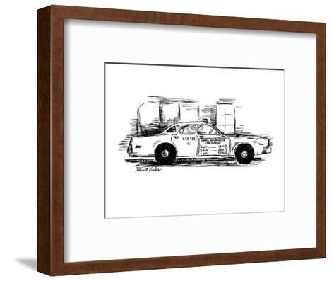 Sign on taxi cab door reads; Useful Information Cab Company, andlists meas? - New Yorker Cartoon-Stuart Leeds-Framed Art Print