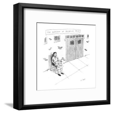 """""""The Queenpin of Riverside Drive"""" - New Yorker Cartoon-Roz Chast-Framed Art Print"""