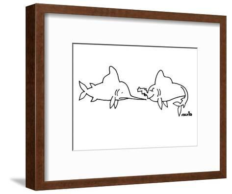 A sword fish is looking at a fish with a gun for a mouth. - New Yorker Cartoon-Ariel Molvig-Framed Art Print