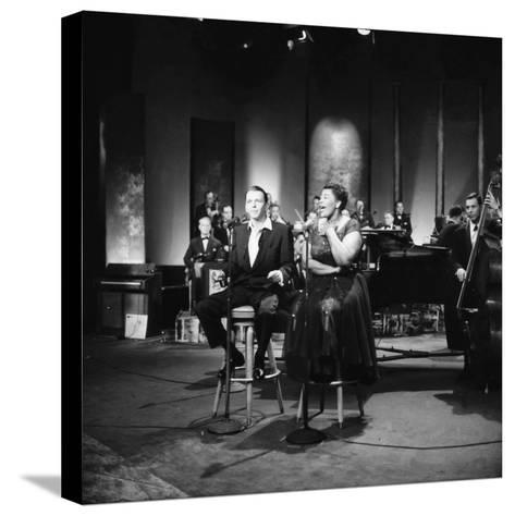 Ella Fitzgerald and Frank Sinatra - 1958-Howard Morehead-Stretched Canvas Print