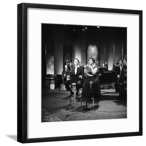 Ella Fitzgerald and Frank Sinatra - 1958-Howard Morehead-Framed Art Print