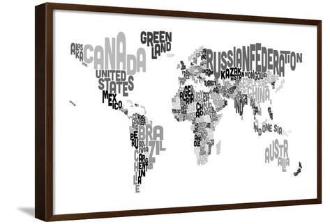 Monotone Text Map of the World-Michael Tompsett-Framed Canvas Print