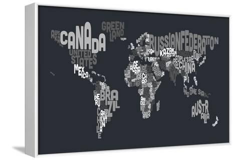 Text Map of the World-Michael Tompsett-Framed Canvas Print