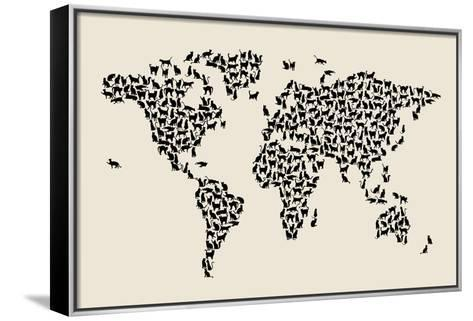 Cats Map of the World Map-Michael Tompsett-Framed Canvas Print
